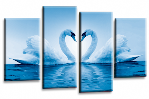 Love Swans Canvas Wall Art Picture Kissing Heart White Blue Print